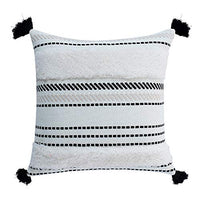 OJIA Boho Decorative Accent Pillow Covers,Neutral Throw Woven Tribal Tufted Pillow Case with Tassels, Pillow Sham Cushion Cover for Farmhouse,Party, Outdoor,Bedroom, Living Room (18x18 Inch, Cream)