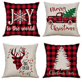 LEVOSHUA 4 Pack Valentines Day Pillow Covers Buffalo Plaid Pillowcase Throw Pillow Case Cushion Cover Kiss Lip Cotton Linen Pillowcase for Home Decor Sofa Valentine's Day 18 x 18 Inch
