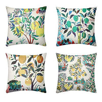 Calvin&Sally Cactus Throw Pillow Covers Set of 4 Succulent Plants Cotton Linen Cushion Cover Pillow Cases for Home Decorative Sofa Couch 18 x 18 Inch(Cactus Pattern)
