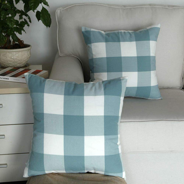 "Artcest Set of 2, Decorative Cotton Blend Dyed Bed Throw Pillow Case, Sofa Durable Plaid Pattern, Comfortable Couch Cushion Cover, 16""x16"" (Peacock Blue)"