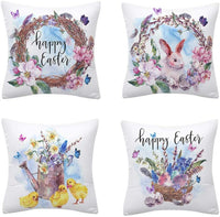 Gooldu Happy Easter Pillow Covers 18x18 Set of 4, Wreath Bunny Egg Chick Pillowcase with Zipper Spring Decorations Farmhouse Cushion Cases for Home Couch Living Room Bed