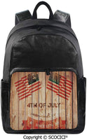 SCOCICI Backpack Lightweight School Bag Fourth of July Independence Day Burlap