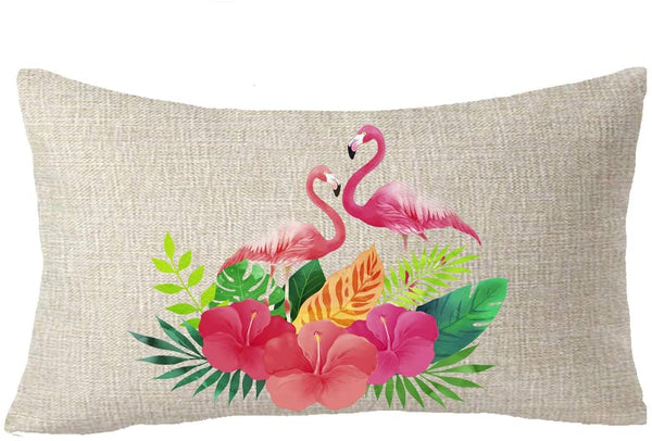 FELENIW Set of 2 American Country Style Rain-Forest Palm Leaf Plant Animal Flamingo Spring Summer Gift Throw Pillow Cover Cushion Case Cotton Linen Material Decorative Lumbar 12X20 inches