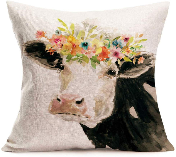 Fukeen Watercolor Painting Dairy Cow Throw Pillow Cases Adorable Farm Animals with Flower Wreath Decorative Pillow Cushion Covers Cotton Linen Rustic Farmhouse Chair Decor Square 18x18 Inch Pillowcase