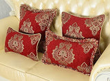 Decorative Throw Pillow Covers, Rustic Cushion Covers, Square Elegant Court Jacquard Pillowcase for Sofa Bed (24''X24'')