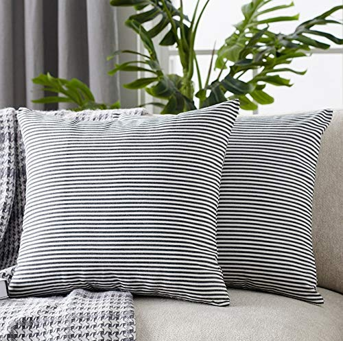 Foindtower Pack of 2 Decorative Cotton Stripe Throw Pillow Covers Classic Neutral Striped Cushion Cover Rustic Farmhouse Modern Retro Decoration for Sofa Bedroom Chair 18 x 18 Inch Black White