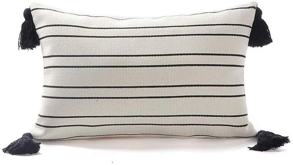Tiffasea Black and White Lumbar Throw Pillow Covers, 12x20 Small Decorative Cushion Cover Striped for Bed Couch Sofa Bedroom Living Room, Woven Tassels Boho Pillow Covers Modern Farmhouse Pillows Case