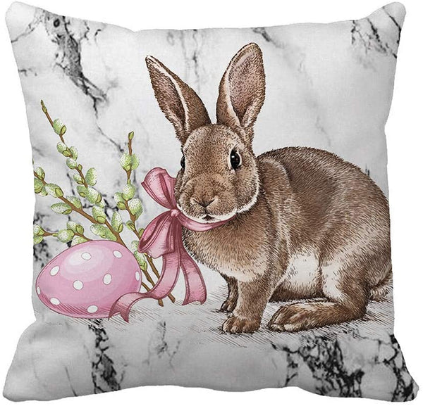 cnnIUHA Easter Pillow Covers 18 x 18 Inches - Happy Easter Egg Series Cushion Cover Case Pillow Custom Zippered Square Pillowcase