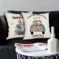 JUGROUPE Set of 4 Easter Bunny and Eggs Throw Pillow Covers 18x18 Inch Farmhouse Decorative Couch Pillow Cases Cotton Linen Case Square Cushion Covers for Living Room, Bed, Sofa and Car (Easter)