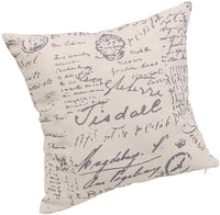 WHY Decor Soft Square Throw Pillow Covers Set Linen Lumbar Cushion Cases, Newspaper Vintage Retro Journalist Decorative Pillow Case for Sofa Bedroom Car Home Decor 18 x 18 Inch Set of 4
