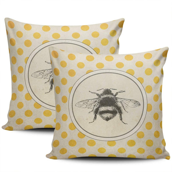 LEKAIHUAI Home Decoration Throw Pillow Covers Vintage Bee on Yellow Dots Pillowcases Square Two Sides Print 18x18 Inches Set of 2