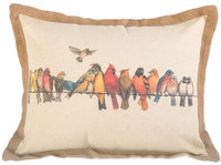 "vctops Decorative Rectangle Throw Pillow Cover Birds Pattern Cotton Linen Rustic Farmhouse Cushion Case for Bench Sofa Couch Car Bedroom (Birds,18""x20"")"