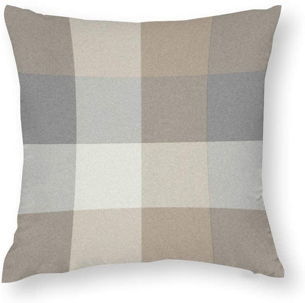 Tan Gray and Ivory Plaid Neutral Accent Throw Pillow Covers Case Cushion Pillowcase with Hidden Zipper Closure for Home Decor 20 x 20 Inches