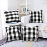 "Farmhouse Decor Pillow Covers, Black and White Buffalo Checkers Plaids Cotton Throw Pillow Covers, Soft Cushion Cover Decorative Pillowcase for Bed/Sofa/Chair/Couch, 18""x18""(45cm), Set of 4"