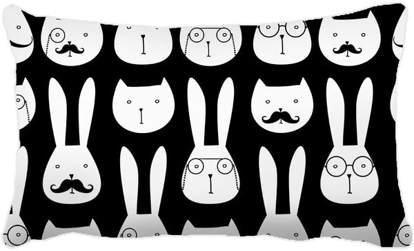 Yohoba Cotton Canvas Rectangle Pillowcase Cover Cute Rabbits and Cats Pattern Decorative Lumbar Pillow Covers Cases 14x24 Inches
