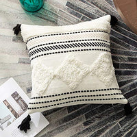 Sungea Woven Throw Pillow Covers,12x20 Inch, Black and White Cute Wave Tufted Tassel Modern Tribal Boho Decorative Cushion Cover Shams for Bedroom Living Room Sofa Couch Car