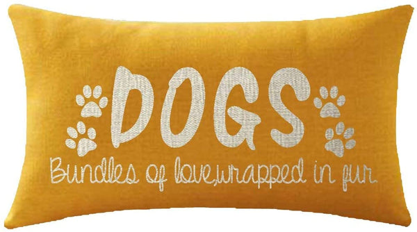 Mesllings Nice Gift Paw Prints Animal Dogs Sweet Love Quote Words Waist Lumbar Yellow Cotton Linen Throw Pillow case Cushion Cover for Sofa Home Decorative Oblong 12x20 Inches