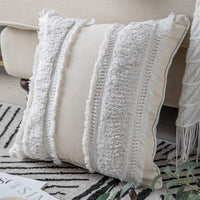 DEZENE Decorative Throw Pillow Covers for Couch Sofa Bed, 2 Pack 100% Cotton Square Pillow Cases, Woven Tufted Pillowcases, Accent Boho Cushion Covers for Farmhouse, Kids, 18 x 18 Inch Beige