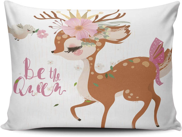 Healbrighting Pillow Cases Cute Romantic Dreaming Baby Princess Deer Floral Wreath Crown Bird and Flowers Home Decorative Pillowcase Boudoir 12 x 18 Inch One Side Pattern Throw Pillow Covers