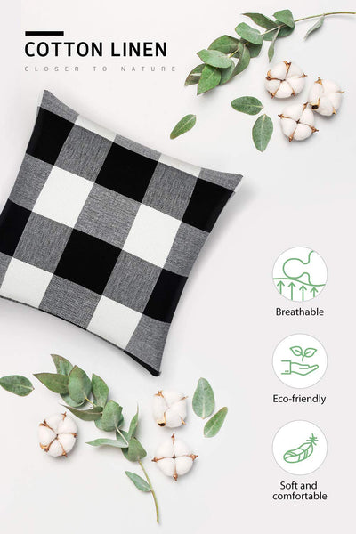 Syntus 2 Pack 18 x 18 inch Buffalo Check Throw Pillow Covers Cotton Linen Plaid Square Pillow Cushion Case for Farmhouse Home Décor Car Bed Sofa, Black and White
