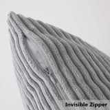 Home Brilliant Decorative Plush Velvet Corduroy Striped Throw Pillow Sham Pillow Case Cushion Cover for Lumbar, 12 x 20, Light Grey