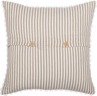 "Piper Classics Farmhouse Ticking Stripe Taupe Throw Pillow Cover, 18"" x 18"", Décor Accent w/Rick Rack"