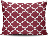 MUKPU Home Custom Pillowcase Burgundy and White Quatrefoil Pattern Simple and Chic Throw Pillowcase Cushion Cover One Sided Printed Design Boudoir 12x18 Inches