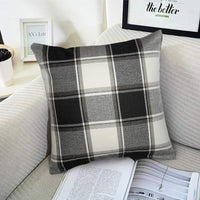 i-FSK Buffalo Check Throw Pillow Covers 18x18- Cotton Line Black Beige Plaid Cushion Cover Farmhouse Holiday Decor Throw Pillow Case for Couch Bed Sofa(45cm x 45 cm)