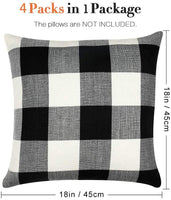 SJEhome Set of 4 Throw Pillow Covers 18x18,Buffalo Check Plaid Cotton Linen Pillow Cases,Farmhouse Black White Plaid Decorative Pillow Covers Cushion Cover for Sofa Bedroom Car