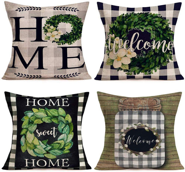 Fukeen Set of 4 Vintage Buffalo Check Plaids Pillow Covers Welcome Home Sweet Home Quote Wreath Rustic Farmhouse Decorative Throw Pillow Cases Cotton Linen Square 18x18 Inch Cushion Cover