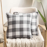 MIULEE Set of 2 Retro Farmhouse Buffalo Plaid Check Pillow Cases with Pom-poms Decorative Throw Pillow Covers Cushion Case for Sofa Couch 20x20 Inch Grey and White