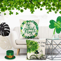 CDWERD 4 Pack St. Patrick's Day Pillow Covers St. Patrick's Day Decorations Farmhouse Throw Pillow Covers Cotton Linen Cushion Case 18x18 Inches
