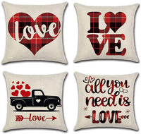 JUGROUPE Set of 4 Valentine Red Truck Plaid Buffalo Check Throw Pillow Covers 18x18 Inch Decorative Couch Pillow Cases Farmhouse Cotton Linen Set Cushion Covers for Living Room, Sofa and Bed (Love)