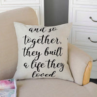 "FOOZOUP Farmhouse Style Decorative Throw Pillow Case Cushion Cover 18"" x 18"" for Sofa Couch Home Sweet Home Cotton Linen and So Together They Built a Life They Loved"