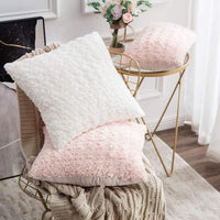 MIULEE Pack of 2 Decorative Throw Pillow Covers Luxury Faux Fuzzy Fur Soft Cushion Pillow Case Decor White Cases for Couch Sofa Bedroom Car 20 x 20 Inch 50 x 50 cm