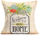 Smilyard Vintage Decorative Pillow Covers Cotton Linen Home Word Throw Pillow Case Cushion Cover Square Outdoor Decor Pillow Cover for Sofa Couch Bed 18x18 Inch (Retro Home)