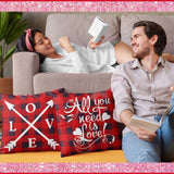 Kithomer Set of 4 Valentines Day Pillow Covers Buffalo Plaid Farmhouse Decor Throw Pillow Cases Retro Truck Cushion Cover 18 x 18 Inch Home Decoration