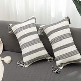 blue page Pack of 2 Cotton Woven Decorative Lumbar Throw Pillow Covers Set, Cute Rectangle Pillow Cases with Tassels, Simple Design Cushion Cover 12x20 Inches (Black Off White)