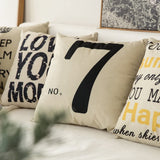 MIULEE No.7 Cotton Linen Decorative Throw Pillow Case Cushion Cover Pillowcase for Sofa Bed Car 18 x 18 Inch 45 x 45 cm