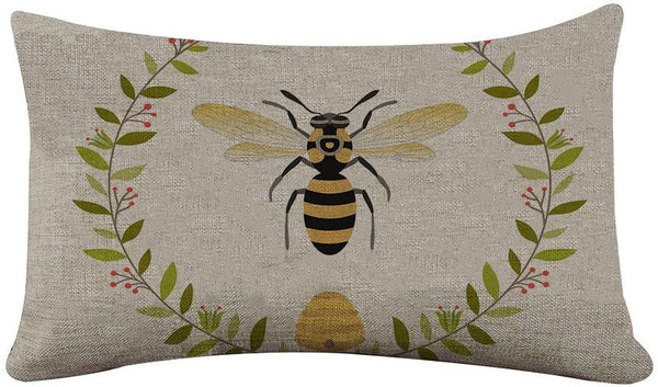 Yilooom Rectangle Pillowcase Cover Vintage French Queen Bee Pattern Lumbar Pillow Covers Cases 16x26 Inches