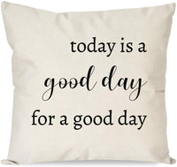 PANDICORN Farmhouse Pillow Covers for Home Décor, Modern Throw Pillow Cases with Inspirational Quotes Today is A Good for A Good Day for Couch, 18x18 Inch