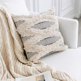 "Bigcozy Tufted Boho Pillow Cover, Tribal Cotton Woven Decorative Square Pillow Cover, Cute Bohemian Pillow Case for Sofa Couch Bed 18""x18"", Gray"