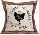 "Smilyard Vintage Farm Farmhouse Pillow Cover 18""x18"" Set of 4 Rustic Farm Animal Rooster Hen Cow Pig Rustic Throw Pillow Cases Cushion Cover for Home Couch (VAP 4PC 06)"