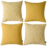 HPUK Decorative Pillow Covers Couch Pillow Covers Throw Pillow Covers for Couch, Sofa, Bed, 17x17 Inch Set of 4 Polyester Farmhouse Pillow Covers, Ochre