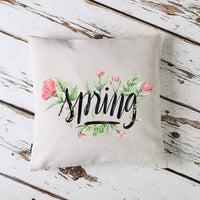 CARRIE HOME Spring Floral Pillow Covers 18x18 Farmhouse Flower Spring Decorations for Home Couch and Patio, 1 Pack