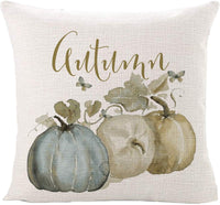 Sinpooo Pumpkin Farmhouse Throw Pillow Covers 18 X 18 Inch Set of 4, Cotton Linen Pillows Covers Pillowcases for Sofa, Couch and Bed (4 Pack pumpkin2)