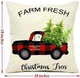 EZIGO Christmas Pillow Covers 18x18 Inch Set of 4 Cotton Linen Red and Black Plaid Pillow Covers for Living Room Sofa Home Decor Farmhouse Christmas Decorations Throw Pillow Case Xmas Gifts
