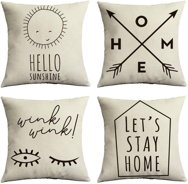 ChooTeeYeen Decorative Pillow Covers 18x18 in Set of 4 Cotton Linen Farmhouse Throw Pillow Covers for Sofa Couch Home Outdoor Decor