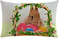E-Scenery Clearance Sale! Throw Pillow Cases, Happy Easter Rabbit Egg Cotton Linen Rectangular Decorative Pillow Covers Cushion Cases for Sofa Bedroom Car Home Decor, 20 x 12 Inch (M)