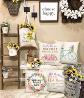 4TH Emotion Spring Flower Market Throw Pillow Cover Farmhouse Cushion Case for Sofa Couch 18 x 18 Inches Cotton Linen Set of 4